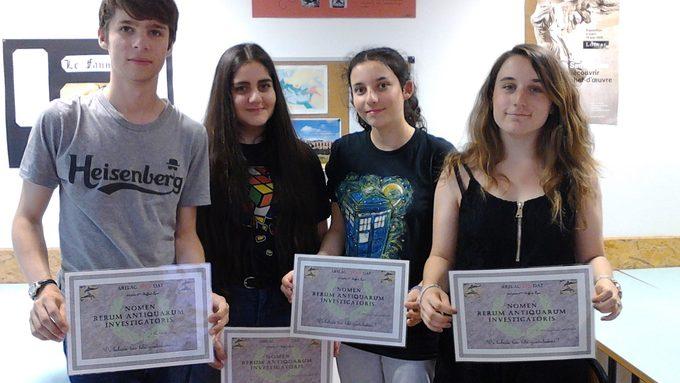 Quatre latinistes de seconde du lycée ont remporté le premier prix !